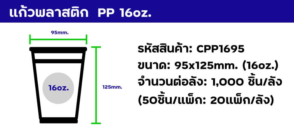 แก้วพลาสติก pp 16oz