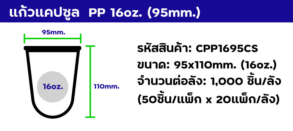 แก้วแคปซูล pp 16oz